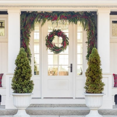 Red Berry and Cedar Garland Christmas Front Porch