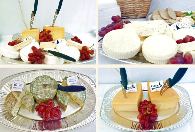 Organic cheeses together with grapes and crackers