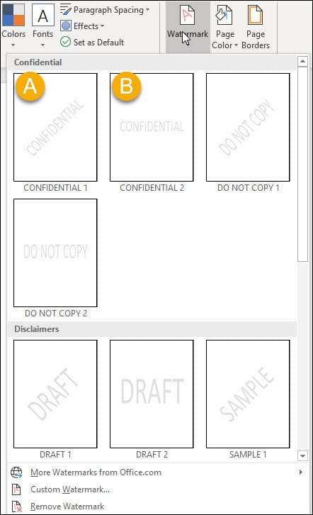 Word watermark drop-down panel and options.