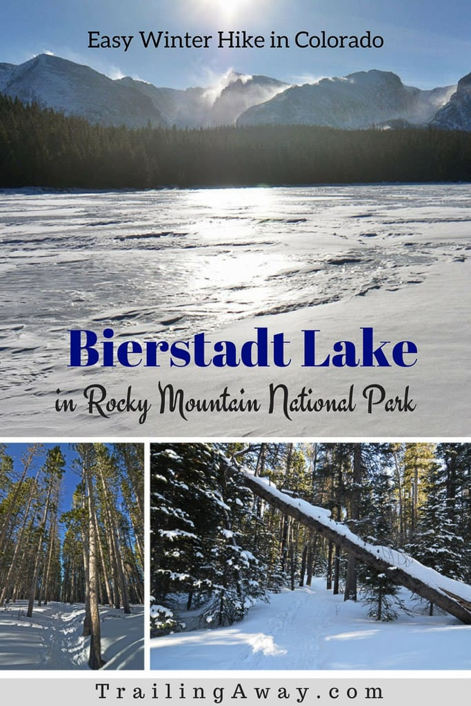 Hiking to Bierstadt Lake in Colorado\'s Rocky Mountain National Park is a great beginner snowshoeing trail with lots of amazing views. Great hike to take the kids on as well. #rockymountainnationalpark #colorado #bierstadtlake #snowshoe #winterhike #estespark