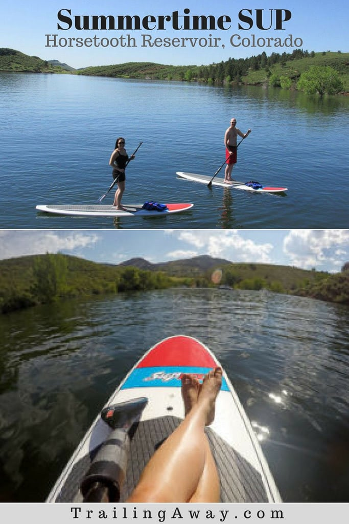 Have you tried stand up paddleboarding? Renting a SUP on Horsetooth Reservoir is the perfect summertime activity in Colorado. Nothing is better than getting out on the lake on a warm summer day! #colorado #hike #fortcollins #paddleboarding #horsetoothreservoir
