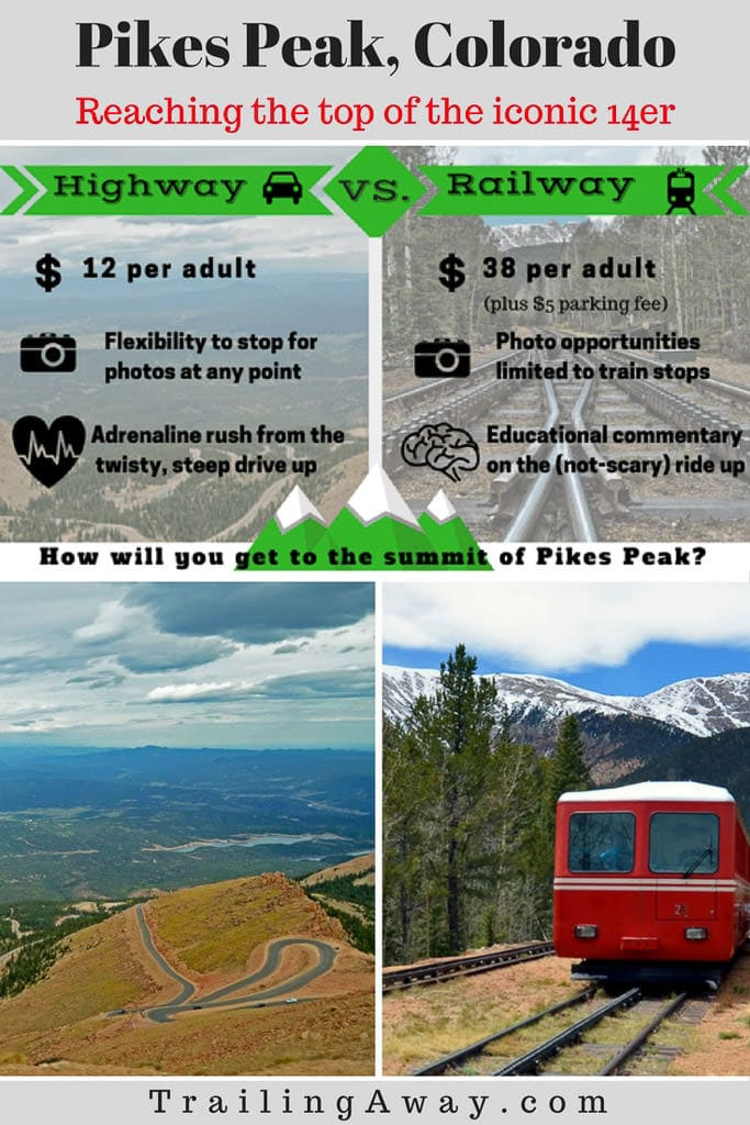 Thinking of taking a trip to the summit of Pikes Peak in Colorado? The journey is half the fun! Check out these reviews on the Pikes Peak highway vs. railway. #colorado #pikespeak #coloradosprings #railway #14er
