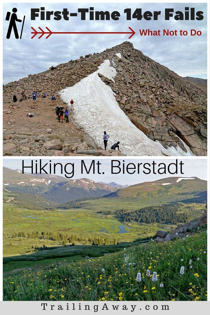 Hiking your first 14er in Colorado? Make sure to avoid these five first-time 14er mistakes - like not drinking enough water and planning poorly. And enjoy these pictures of Mt. Bierstadt to keep you inspired! #colorado #14er #fourteener #mountains #hikes #mtbierstadt