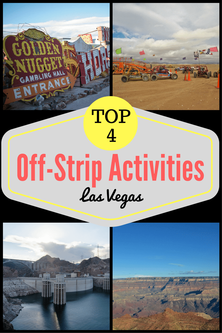These Las Vegas off-strip activities will likely be the highlight of your trip, and most of them are just a short drive away! From the neon museum to dune buggy racing in the desert! These are the best off-strip things to do in Vegas. #lasvegas #offstrip #dunebuggy #neonmuseum #grandcanyon