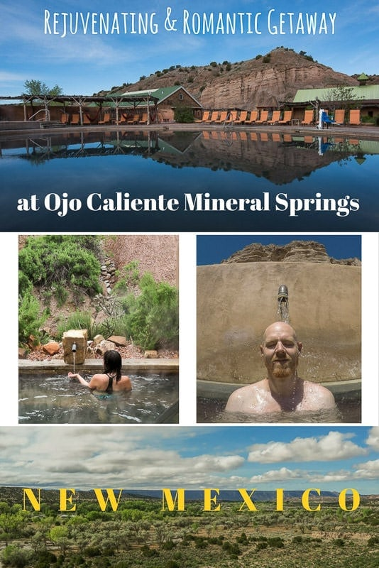 Looking for the perfect place to relax your tired body and mind? Searching for a romantic retreat to spend some alone time with your partner? Soak in the healing waters of Ojo Caliente Mineral Springs Resort & Spa in New Mexico. This enchanting place between Santa Fe and Taos is a can\'t-miss vacation destination. #newmexico #santafe #taos #ojocaliente #hotspring #spa