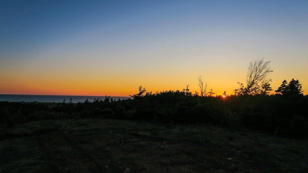 Sun setting over the Atlantic Ocean