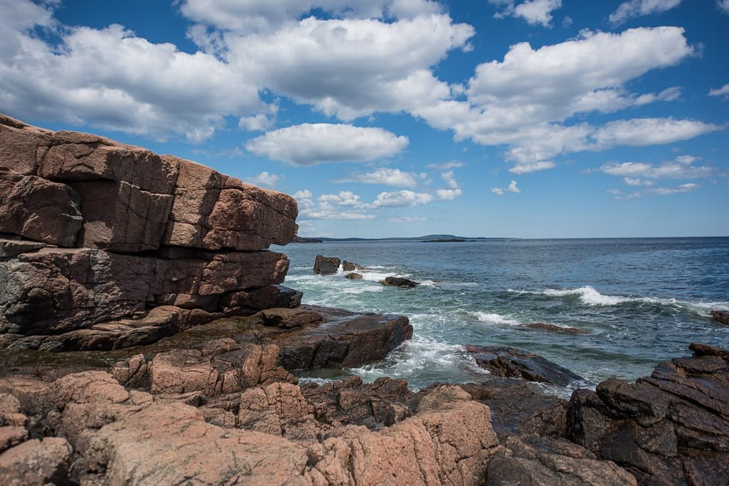 Pink Granite cliffs on the Great Head Trail Hike