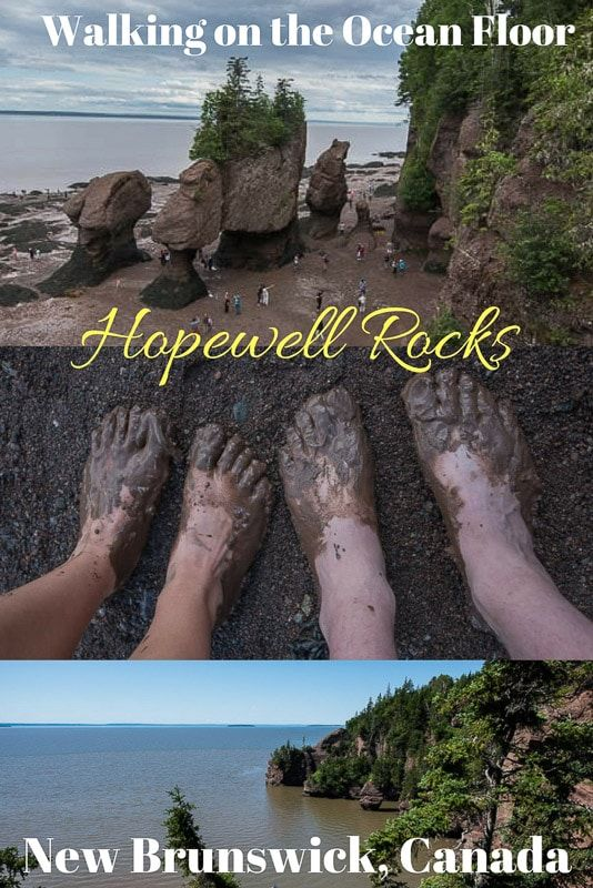 Experiencing the famed tides at the Bay of Fundy in New Brunswick, Canada is best enjoyed by walking on the ocean floor at Hopewell Rocks. Go ahead, get your toes muddy! #canada #newbrunswick #fundytides #bucketlist #travel #rving #destination #travel #thingstodo