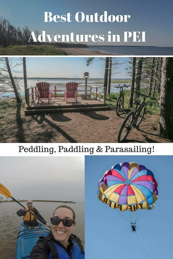 From cycling and paddling around the island to seeing the beautiful views from up high on a parasailing trip, here are our favorite outdoor adventures in PEI! Prince Edward Island in Canada has attractions for everyone! #canada #pei #princeedwardisland #maritimes #atlanticcanada