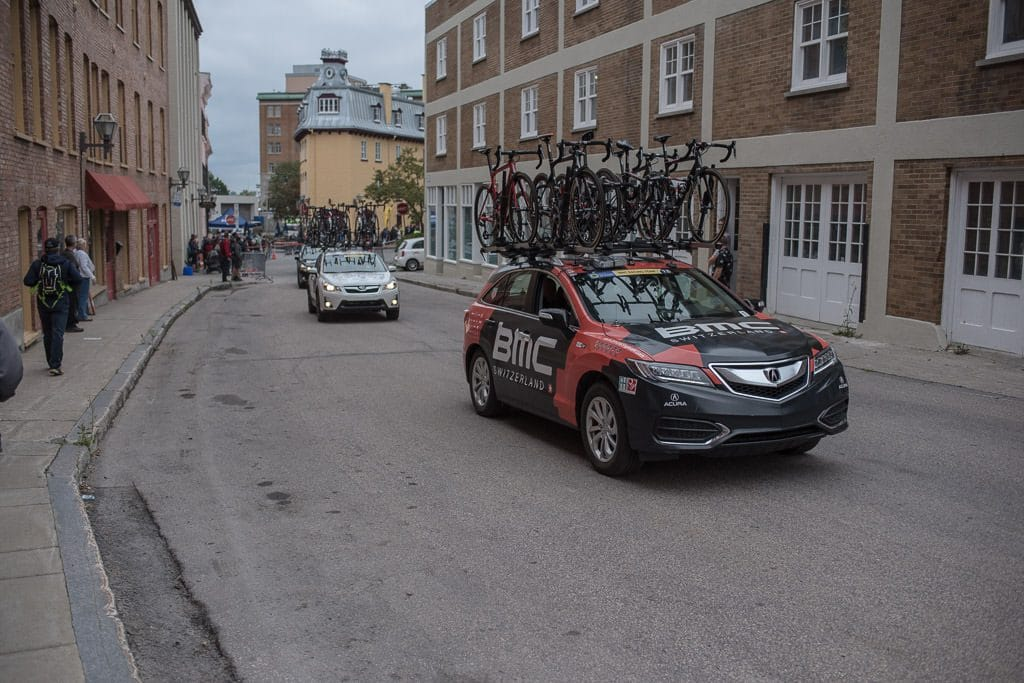 Chase Cars with replacement bikes on the roof rack during the Quebec City Bike Race