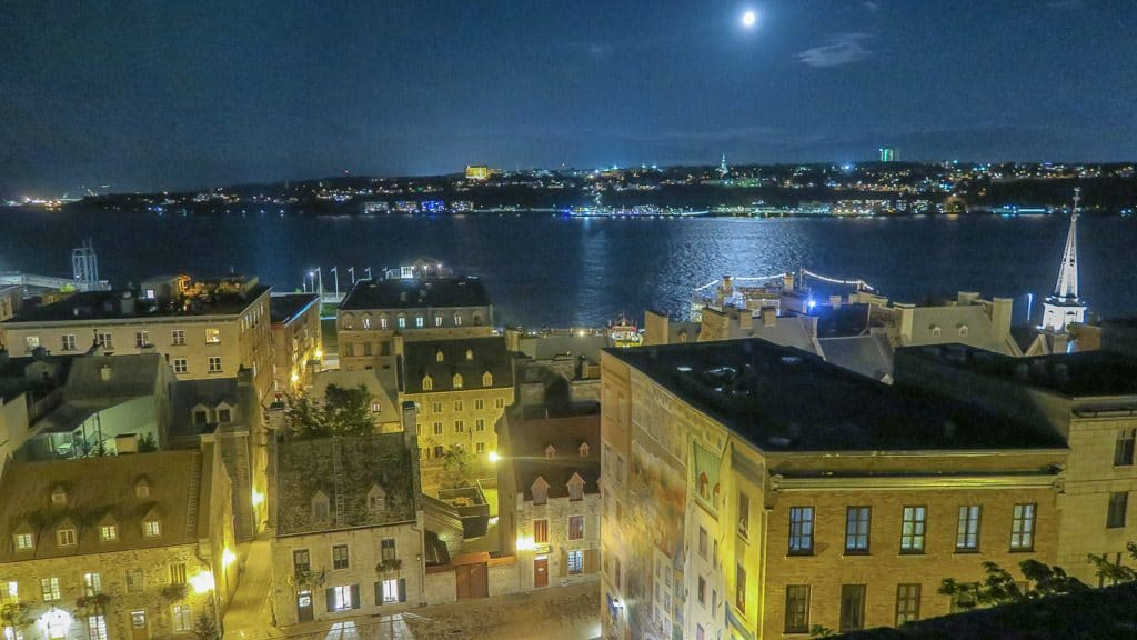 Looking out over the St. Lawrence River in Quebec City at Night