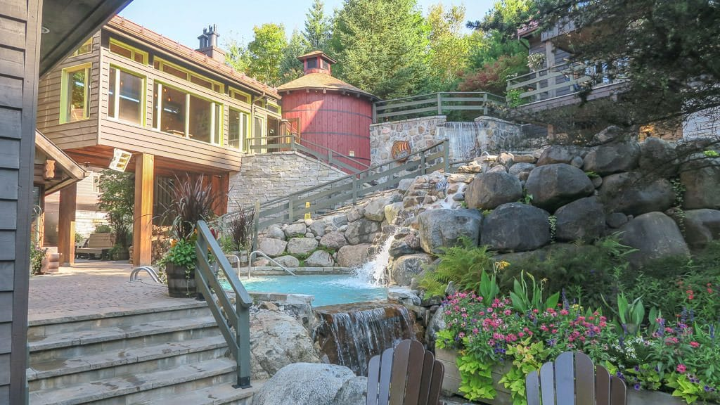 a portion of the beautiful scandinave spa in mont-tremblant