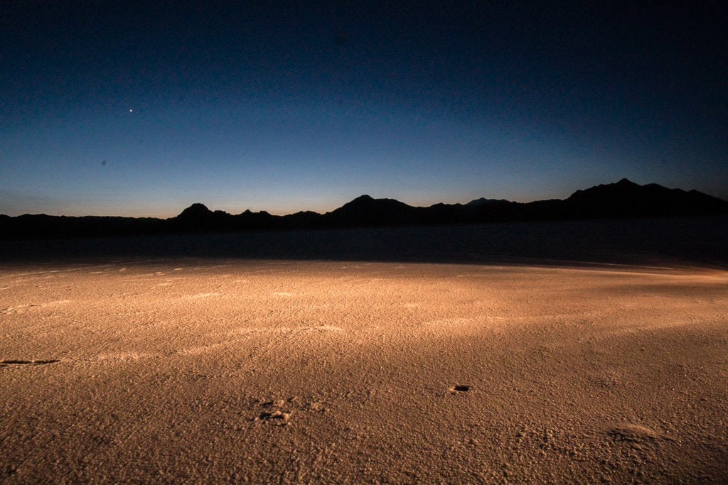 bonneville salt flats at night