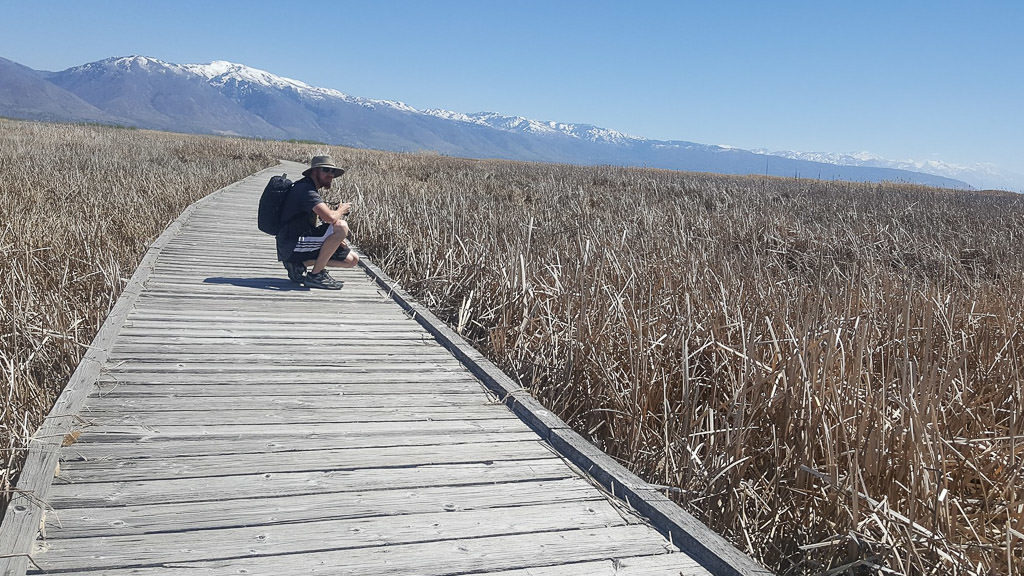 Wooden Boardwalk over the Great Salt Lake Shorelands Preserve, which is a great day trip from Salt Lake City