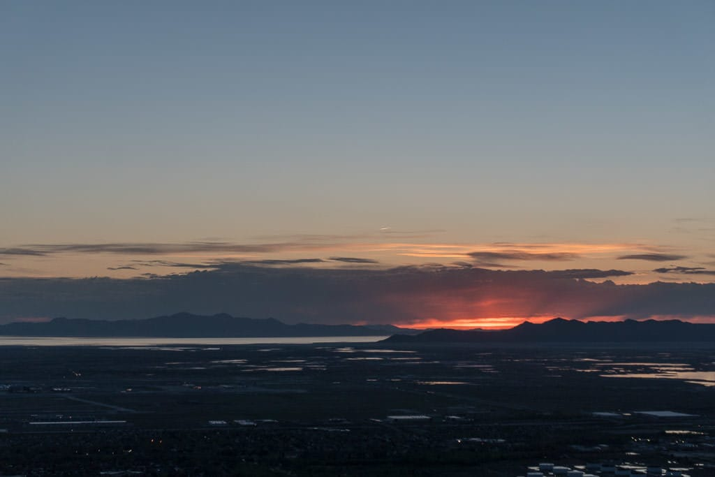 Sun setting over the Great Salt Lake from Ensign Hill