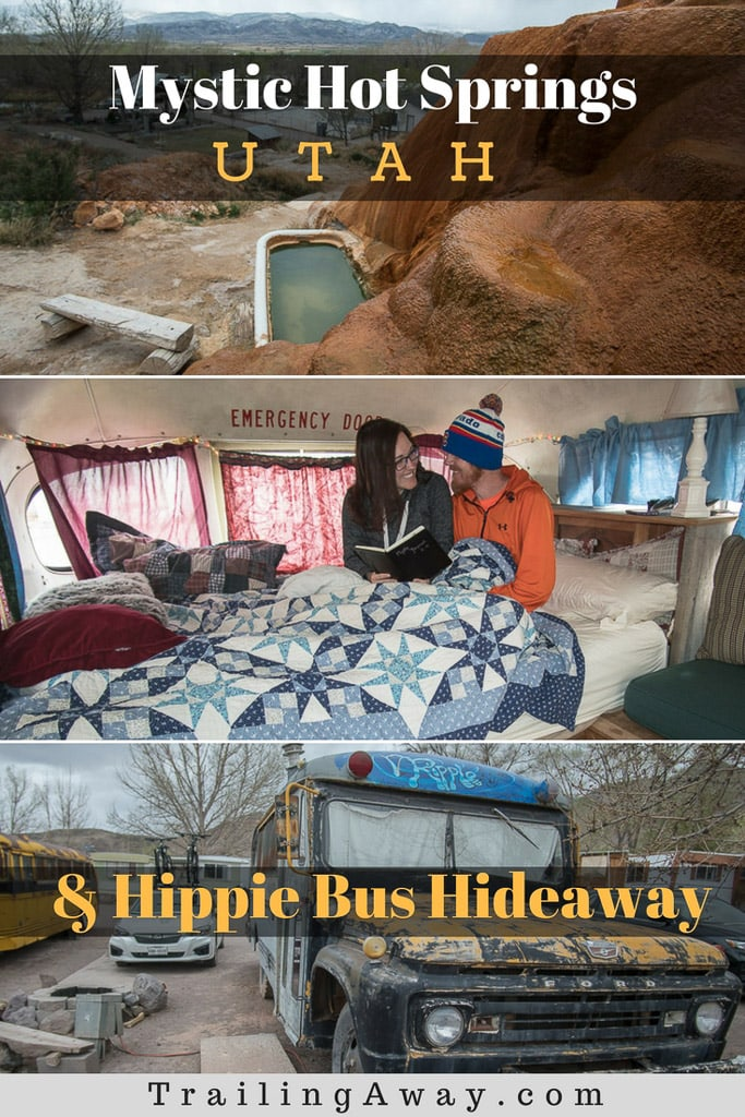 Looking for a unique and quirky road trip stop on your drive through Utah? Mystic Hot Springs is a special place with unique hippie bus lodging to relax in and amazingly restorative hot springs (bath tubs) to soak in! #utah #airbnb #hotspring #mystichotspring #mountains