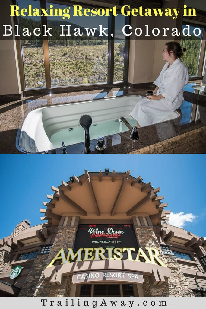 When we were looking for a place to stay near Denver, Ameristar Black Hawk stood out immediately. I mean, there was a jetted tub in the room AND on the roof! It was the perfect getaway in Black Hawk! Getting to do some gambling in the casino and enjoying the spa, were just added bonuses! #colorado #blackhawk #gambling #denver #weekendgetaway