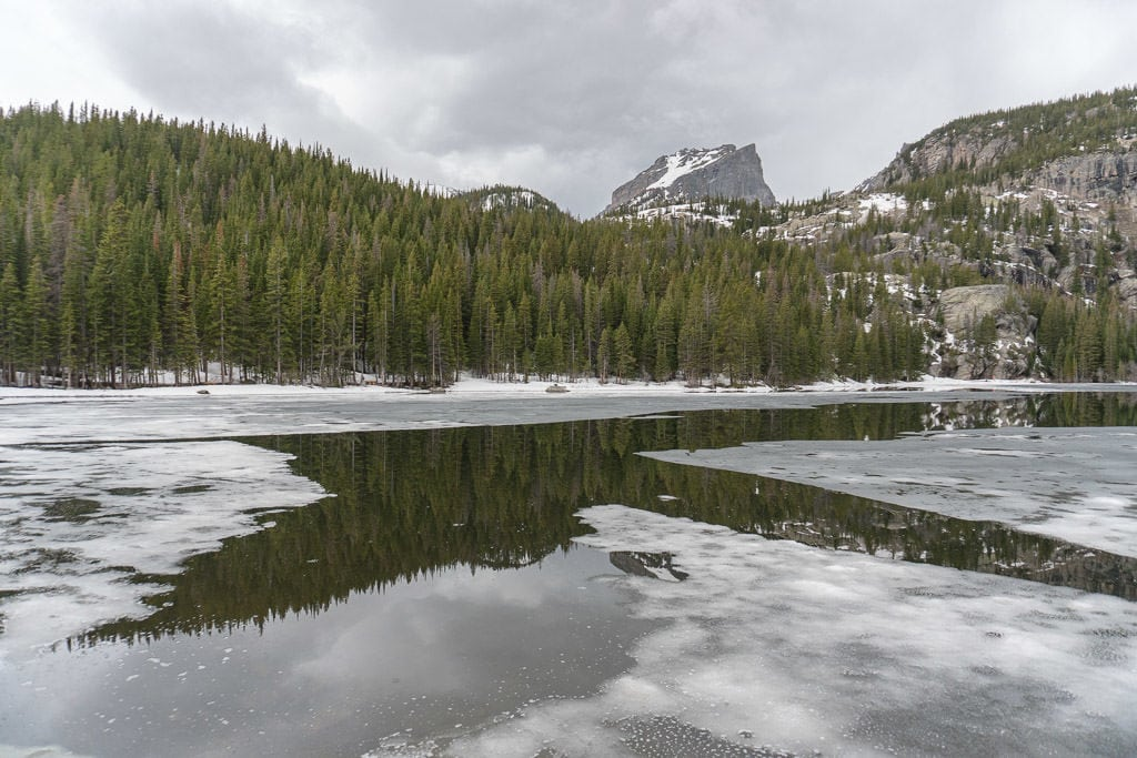 bear lake in spring at rocky mountain national park