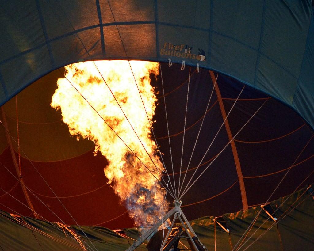 Fire going into a balloon during the Balloon Fiesta