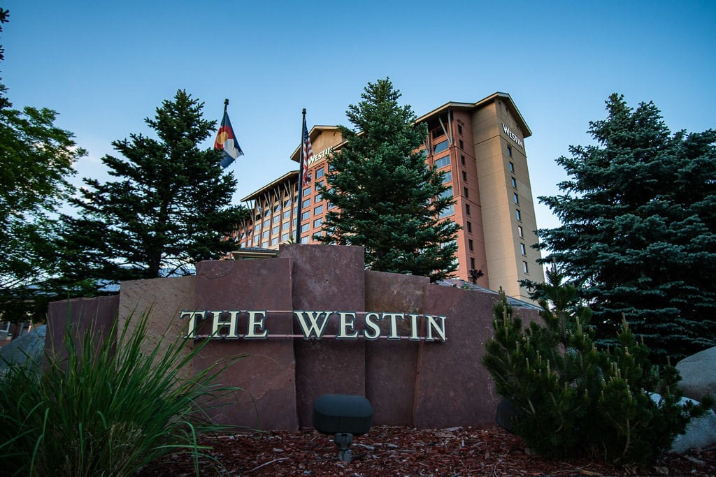Outside of the Westin Hotel in westminster, a perfect base for a Colorado Vacation
