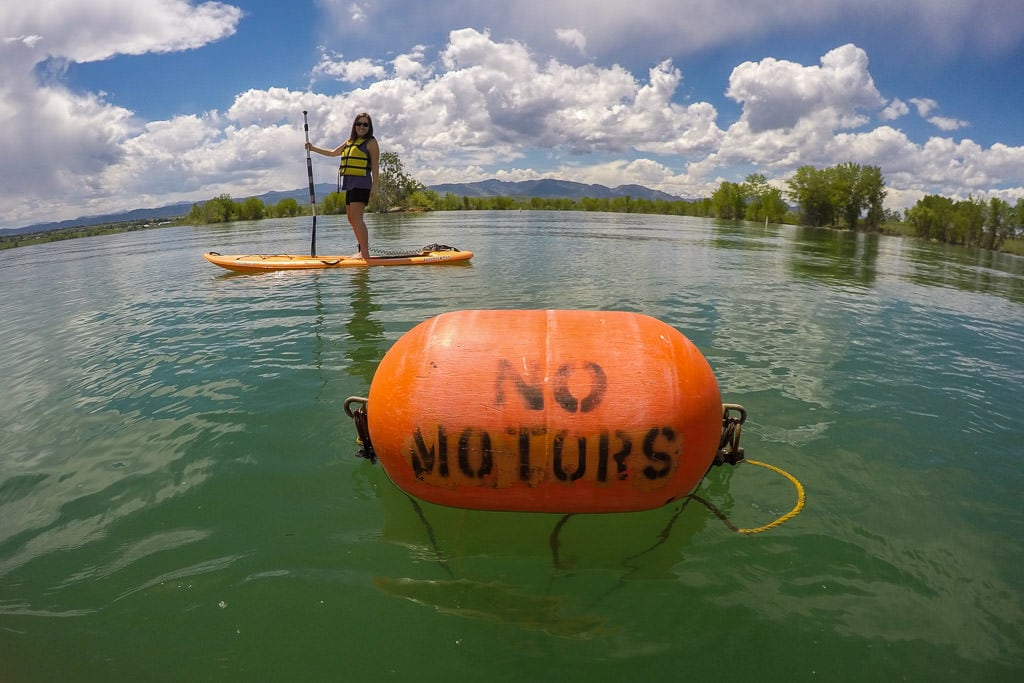 No Motors Bouy on Standley Lake, showing an area boats aren't allowed