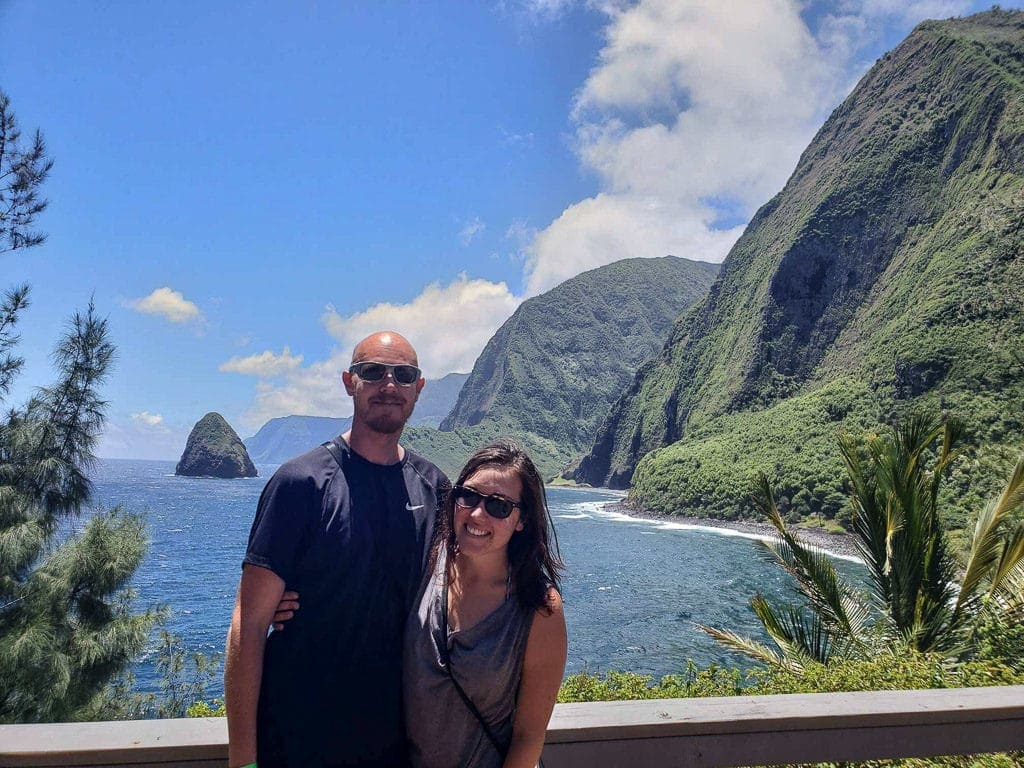 Brooke and Buddy with views from kalaupapa in molokai