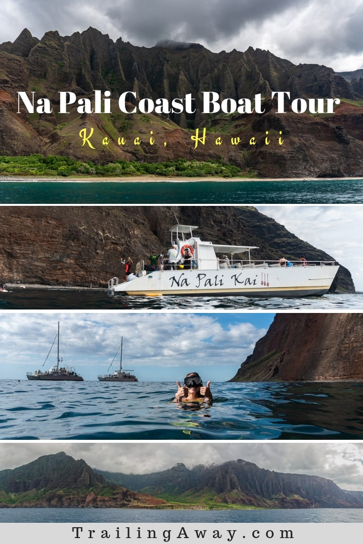 While planning our epic friendcation to Kauai, we knew a tour of the Na Pali Coast was high on our list. So, we were happy Makana Charters had room us! It was some of the best views in all of Hawaii, and the snorkeling was an added bonus! #bucketlist #napali #kauai #vacation #island #boattour #hawaii #snorkeling