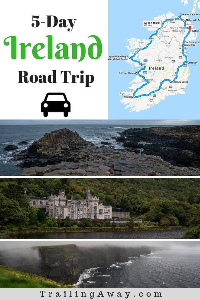 Tips for a budget, whirlwind Ireland road trip from Belfast & Giant\'s Causeway all the way to Cliffs of Moher & Killarney, then back up again! Lots of castles, waterfalls, epic landscapes, and so much green! #ireland #roadtrip #bucketlist #giantscauseway #cliffsofmoher #destination #UK #belfast #dublin