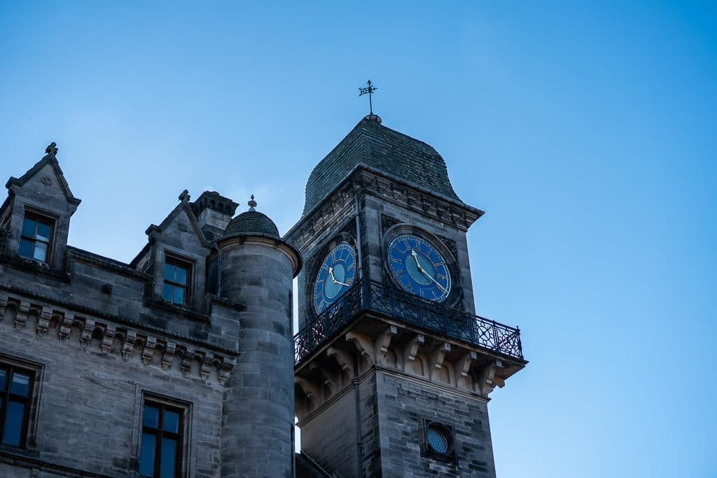 Tower at Dunrobin Castle with a clock on each side