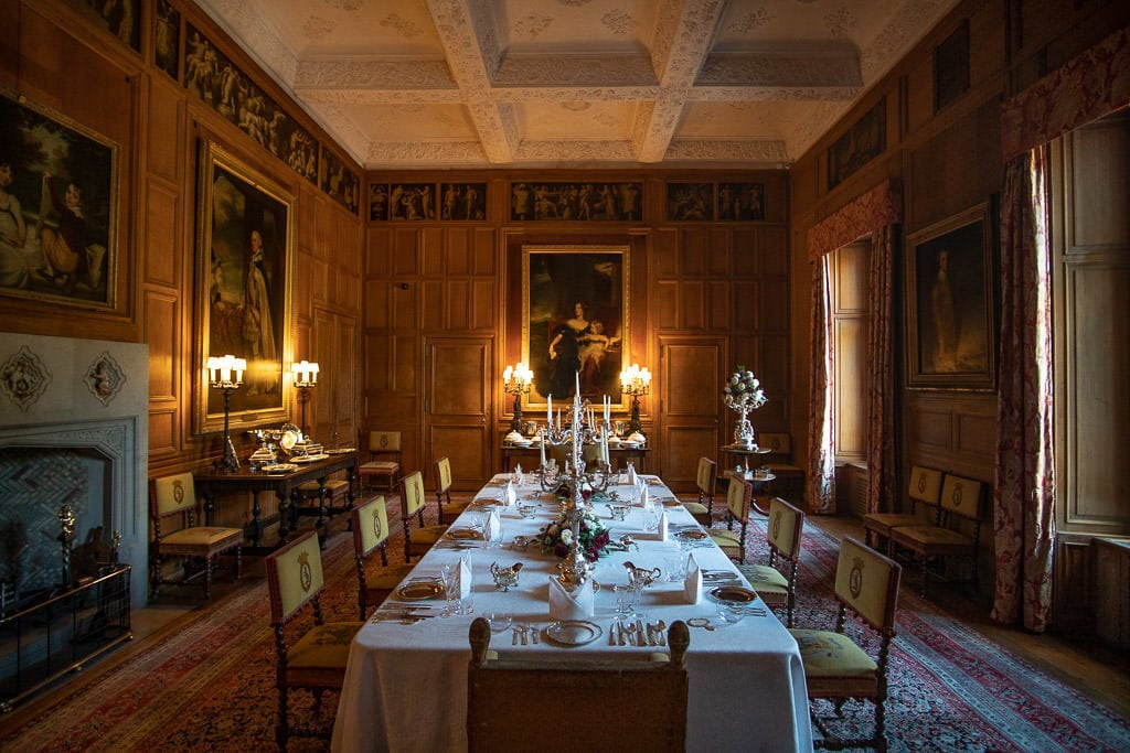 The elegant dining hall which is part of the tour inside Dunrobin Castle