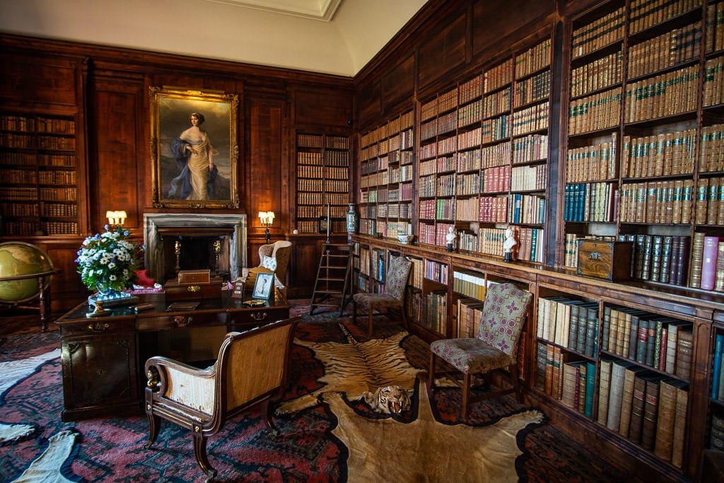 Library and study with thousands of books at Dunrobin Castle near Inverness