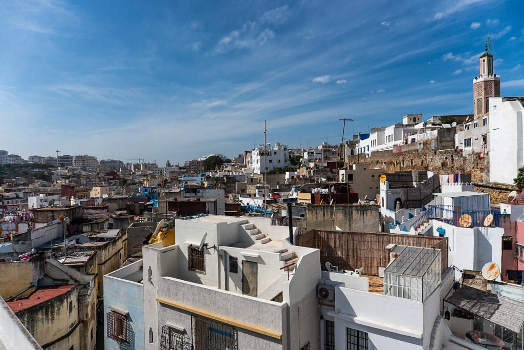 rooftop views at tangier restaurant on day trip to morocco tour