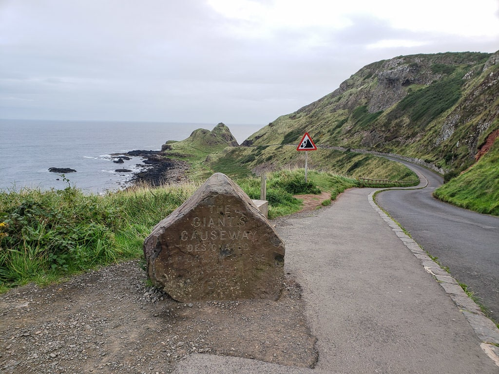 Walking path and shuttle road to The Giant's Causeway in Northern Ireland on Day 2 of our Ireland road trip