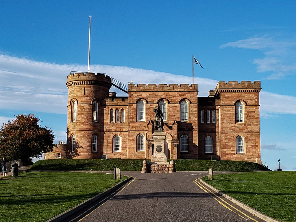 inverness castle on a blue sky day