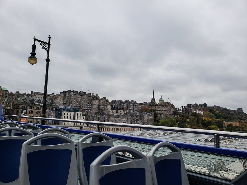 hop on hop off bus views on Edinburgh tour in Scotland
