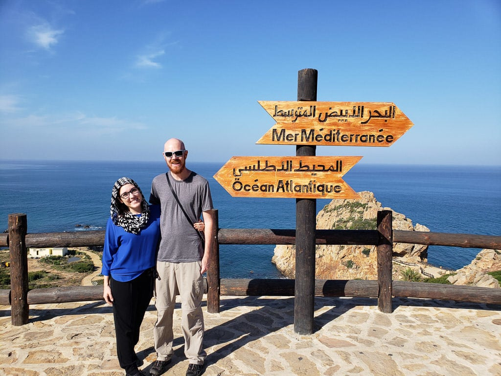 photo with atlantic ocean and Mediterranean sign at the Straight of Gibraltar from Tangier