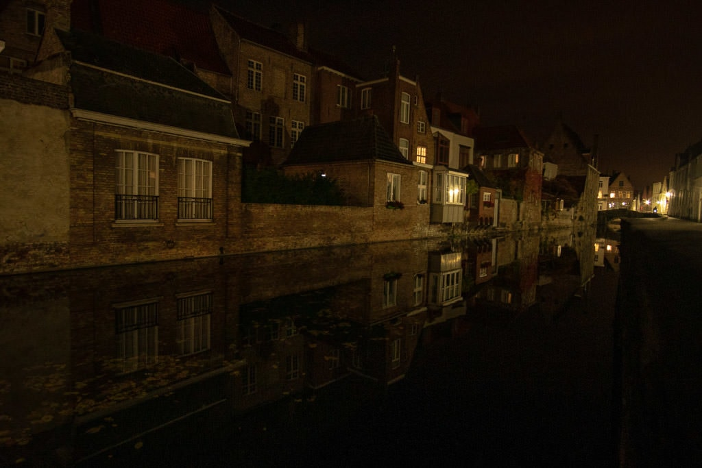 canal at night in bruges belgium