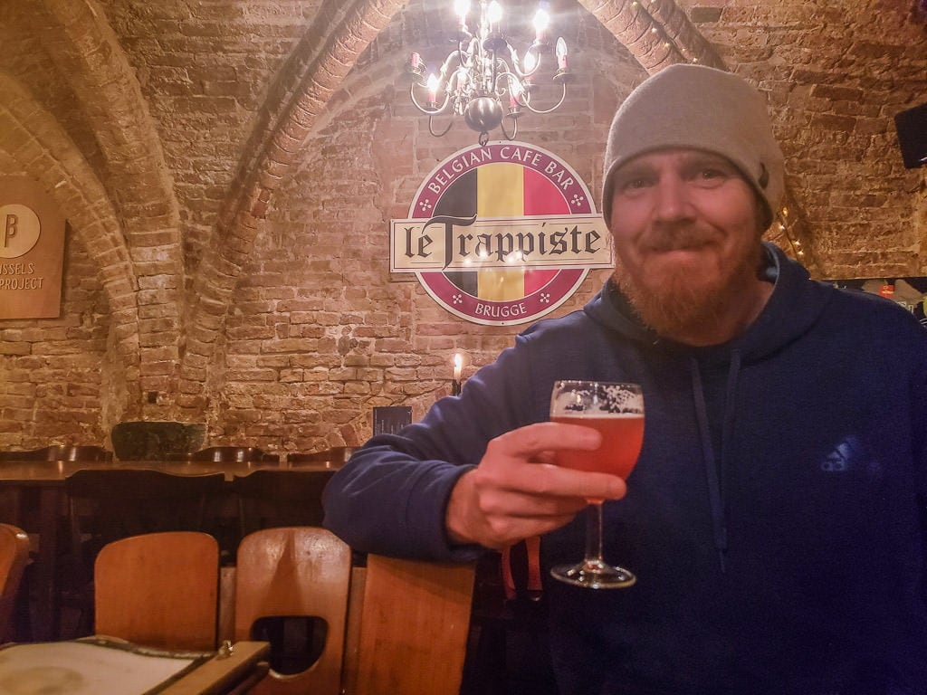tasting beer at le trappiste in bruges belgium