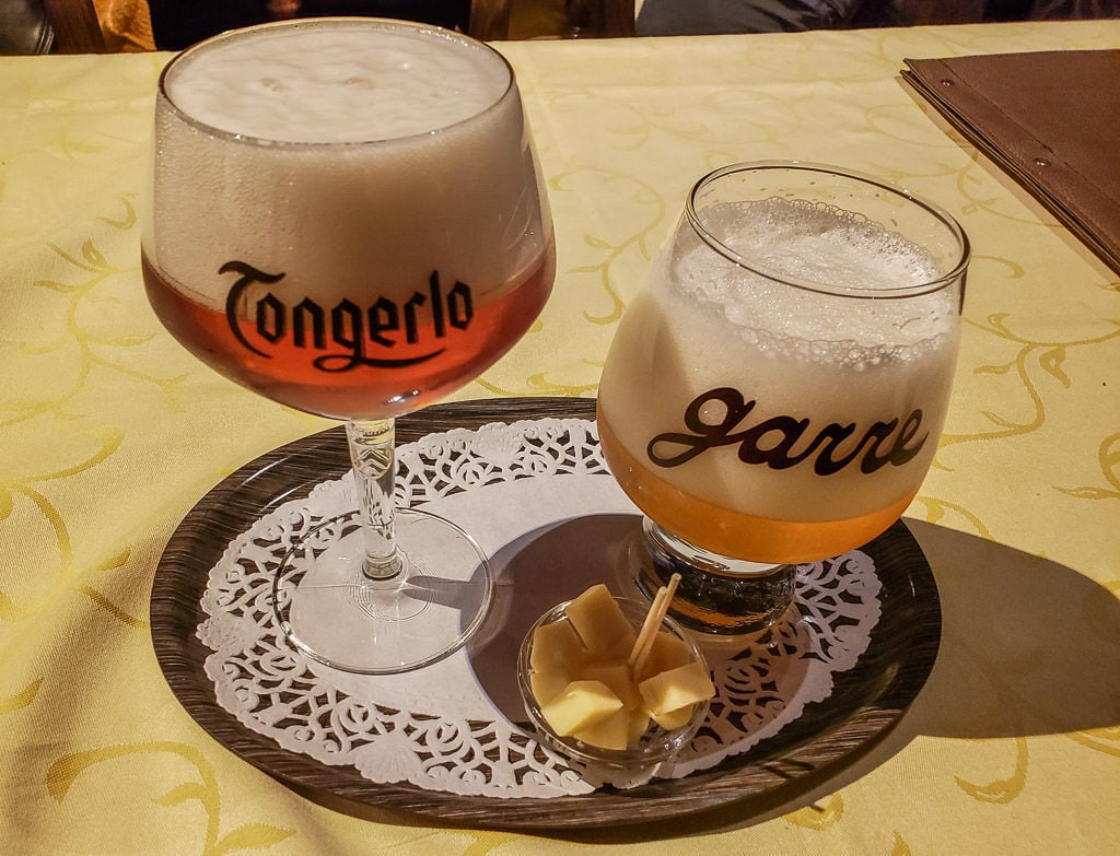 tasting trappist beer at de garre bar in bruges belgium