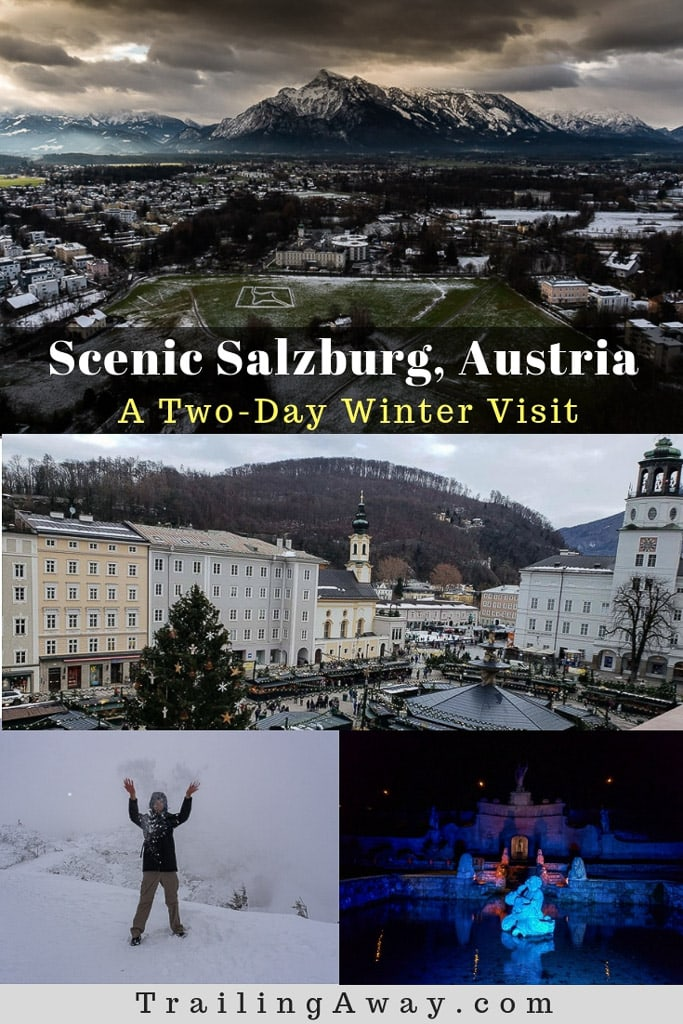 Visiting historic and scenic Salzburg, Austria, in winter made for a magical, memorable trip. From snowventures atop mountains to trick fountains at night, this article is packed with things to do in this historic city known for the Sound of Music. #Salzburg #Austria #Snow #Winter #Europe #ChristmasMarkets #Castle
