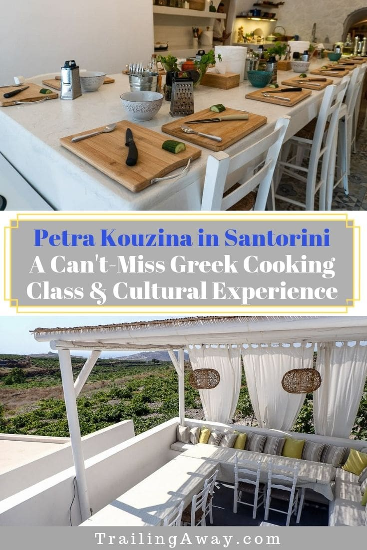 Taking a cooking class in Santorini with Petra Kouzina is a fantastic way to not only learn how to make some amazing greek dishes but also have a truly local experience! The ingredients are fresh and the recipes come straight from grandma\'s cookbook. This is a can\'t-miss while in Greece! #santorini #cookingclass #greekfood #petrakouzina #greece
