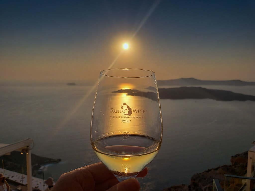 santo winery santorini sunset