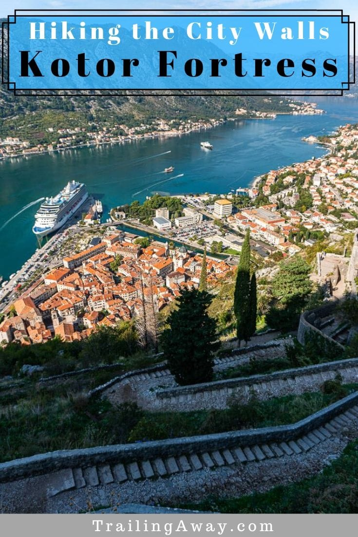 Climbing up the city walls to Kotor Fortress is well worth the effort. You will be rewarded with amazing views of Kotor and the beautiful Kotor Bay! #Kotor #BayOfKotor #Hiking #Montenegro #AncientFortress