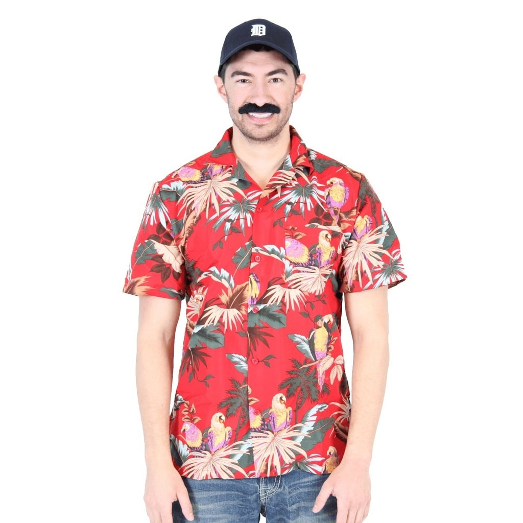 Magnum PI Tom Selleck Red Costume Shirt and Hat - Red - L