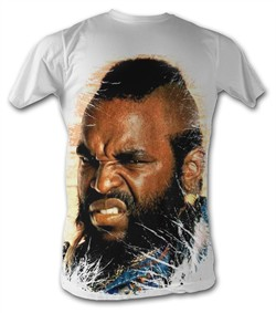 Mr. T T-Shirt - All Over T A-Team Adult White Tee Shirt