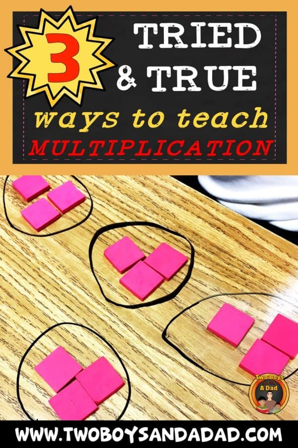 Teaching multiplication to 3rd graders or upper elementary students can take many forms. But here are 3 strategies that will fit any learning style. Presented as hands-on activities, students learn to use equal groups, arrays and a number line to multiply. Click to see examples. #twoboysandadad #multiplication #math #thirdgrade #elementary #teaching
