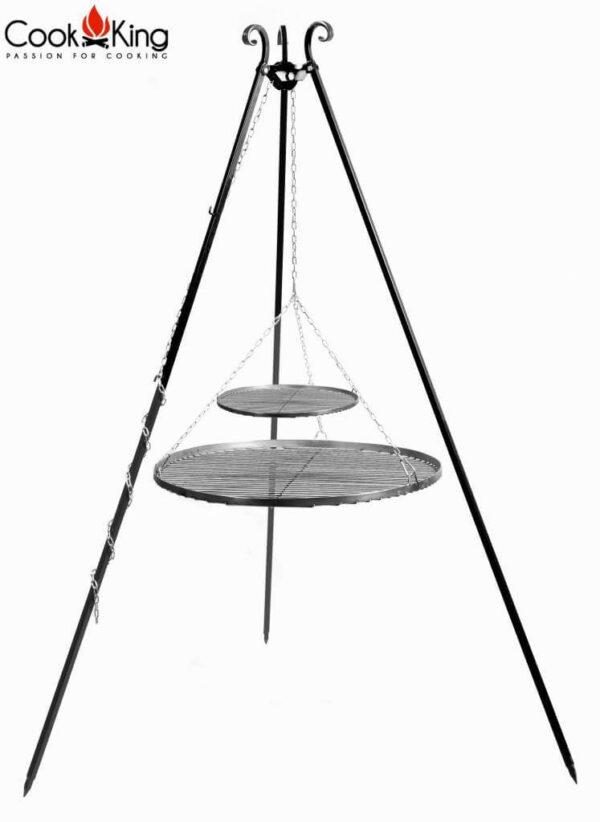 Driepoot 180 cm met dubbel stalen grillrooster 70 + 40 cm – Driepoot 180 cm met dubbel stalen grillrooster 70 + 40 cm