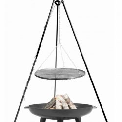 Statief 180cm + grillrooster 50cm + vuurschaal Bali 60cm (set) – Statief 180cm + grillrooster 60cm + vuurschaal Bali 70cm