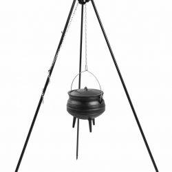 Statief recht 180cm met Afrikaanse kookpot met emaille binnenzijde (set) – recht statief 180cm + Afrikaanse kookpot met emaille binnenzijde 6 Liter