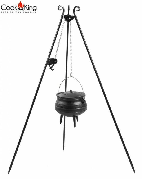 Statief met katrolsysteem + Afrikaanse kookpot – Statief 180cm met katrolsysteem + Afrikaanse gietijzeren kookpot 13 Liter